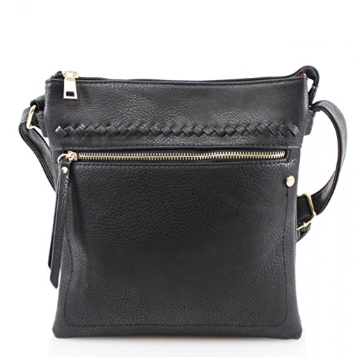 Ladies Handbag Messenger Cross Shoulder Bag Black Satchel Body Faux Women Leather Tote rvawFqr