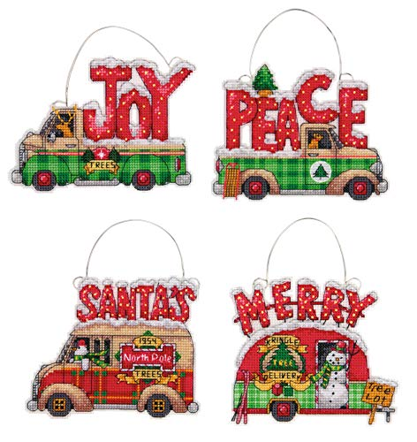 Canvas Christmas Ornaments - Dimensions Holiday Truck Christmas Ornaments Counted Cross Stitch Kit for Beginners, 14 Count Plastic Canvas, 4pc