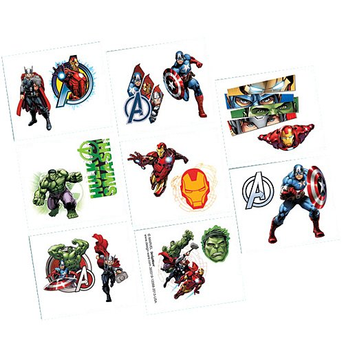Amscan 16-Piece Avengers Tattoos, (Superhero Halloween Party Invitations)