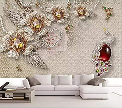 Avikalp Exclusive Awz0271 3d Wallpaper 3d Beautiful Dimensional Jewelry Flower Tv Background Hd 3d Wallpaper 8 Ft X 10 Ft