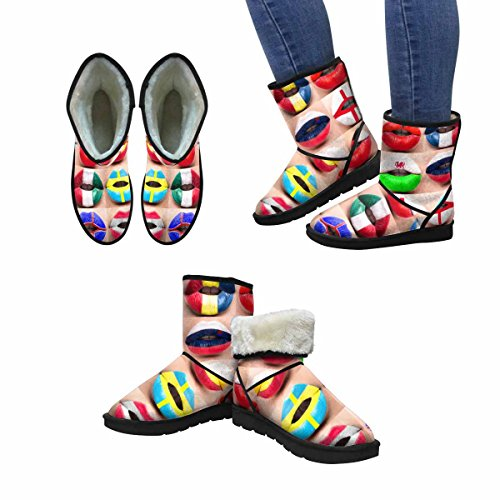 Interestprint Mujeres Snow Botas Female Lips De Cerca Con Picture Flags Europe Unique Designed Comfort Botas De Invierno Multi 1