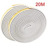 Homend Soundproof Weather Stripping Door Kit, 66FT(20M) Long Weather Stripping Doors and Windows Soundproofing Anti-Collision Self-Adhesive Weatherstrip Rubber Door Seal Strip (Pack of 2, White)