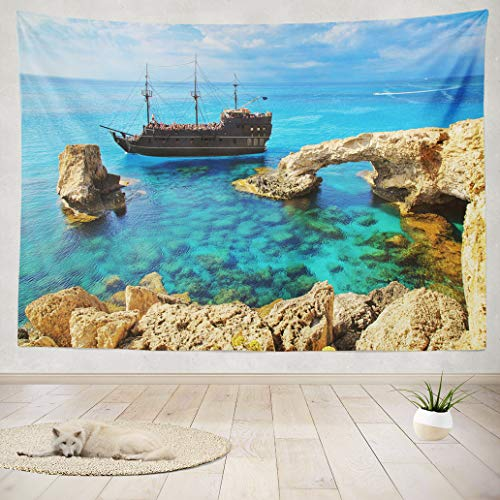 - ASOCO Tapestry Wall Hanging Bridge Love Pirate Ship Sailing Famous Beach Wall Tapestry for Bedroom Living Room Tablecloth Dorm 80