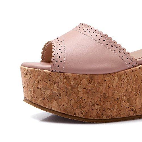 Amoonyfashion Wollen Peep-teengesp Pu Diverse Kleur Hoge Hakken Sandalen Roze