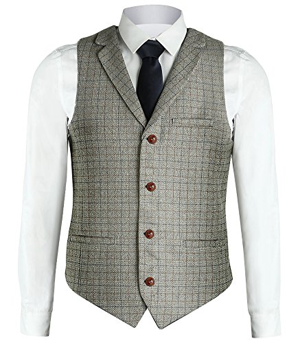 Zicac Men's Unique Advanced Custom Vest Skinny Wedding Dress Waistcoat (M, Light Gray Lapel) by Zicac