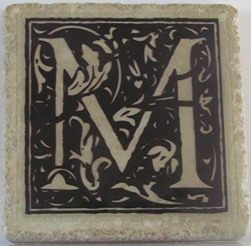Personalized Coasters - Floral Initials - Set of 4 - Monogram Coasters - Stone Coasters - Drink Coasters - Wedding Coasters - Tile Coasters - Coaster Set - Anniversary Coasters - Marble Coasters ()