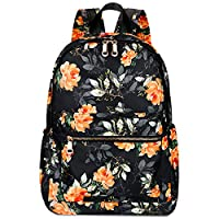 Gywon Floral Backpack School Bookbag Student Satchel Shoulder Bag Colorful Flower Pattern Travel Daypack Rucksack for Women