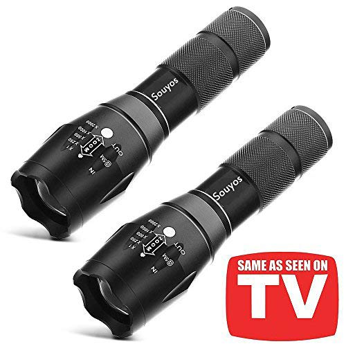2 Pack Tactical Flashlight, Souyos Ultra Bright-2000
