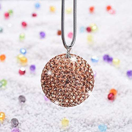 UR URLIFEHALL Car Rear View Mirror Hanging Ornament Car Decor Shiny Diamond Ball Car Accessories Charm Rhinestone Car Interior Hanging Pendant (Champagne Yellow)