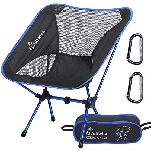 WolfWise Ultralight Portable Camping Chair, Compact Folding Backpacking Lounge Chairs for Outdoor Picnic Beach Hiking Fishing with Carry Bag and Two Carabiner, Black+Blue