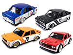 HCK Set of 4 1973 Datsun 510 w/ Wide Body Kit JONSIBAL - Pull Back Toy Cars 1:32 Scale (Black, Orange, Red, Blue) by HCK