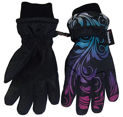N'Ice Caps Girls Ombre Shaded Print Waterproof and Thinsulate Winter Snow Gloves (9-10yrs, Black/Multi) Youth Kids Glove