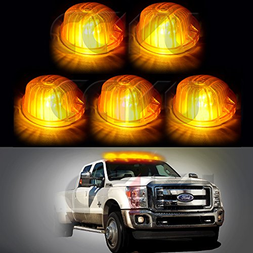 Cab Marker Light Top Clearance Marker Light 5 Pack Amber Round-Shape Cab Marker Light 9069A Cover+ LED For 1973-1974 1980-1991 Chevrolet truck pickup T10 194 912 168