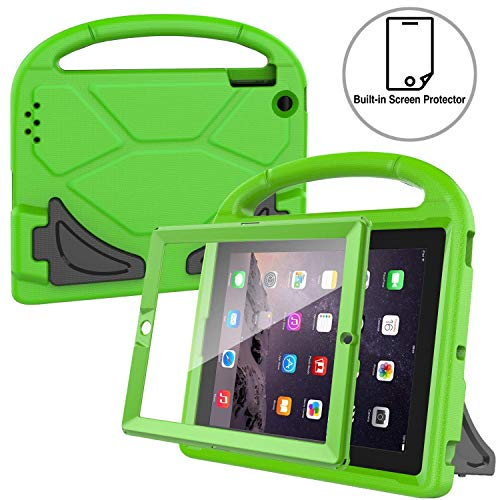 AVAWO Kids Case Built-in Screen Protector for iPad 2 3 4 - Shockproof Handle Stand Kids Friendly Compatible with iPad 2nd 3rd 4th Generation (Green)