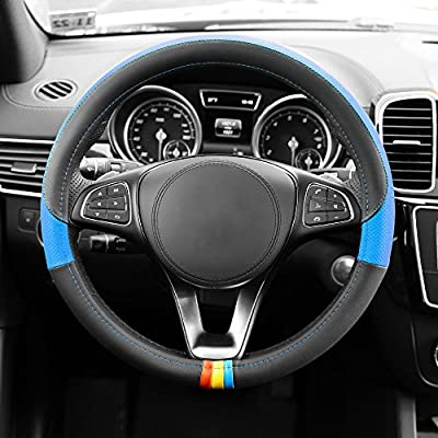 FH Group FH2008 Full Spectrum Genuine Leather Steering Wheel Cover (Blue) – Universal Fit for Cars Trucks & SUVs: Automotive