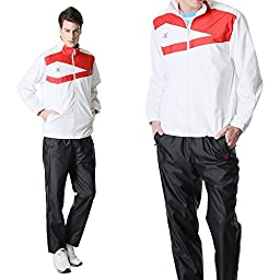 Fuerza Mens Lightweight Track Jacket Pants Built-In Hood Tracksuit - White/Black (Large)