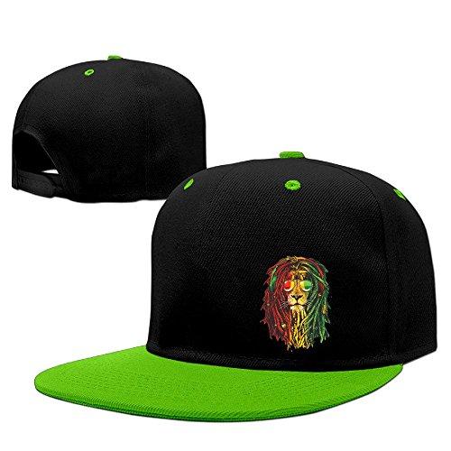 Custom Unisex-Adult Lion Rasta Hair Flat Brim Hiphop Cap Hats KellyGreen