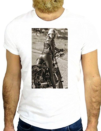 T SHIRT Z0395 PIN UP COOL BIKER NICE SEX BUT COOL SEXY BEAUTIFUL MOTO GGGG24 BIANCA - WHITE L