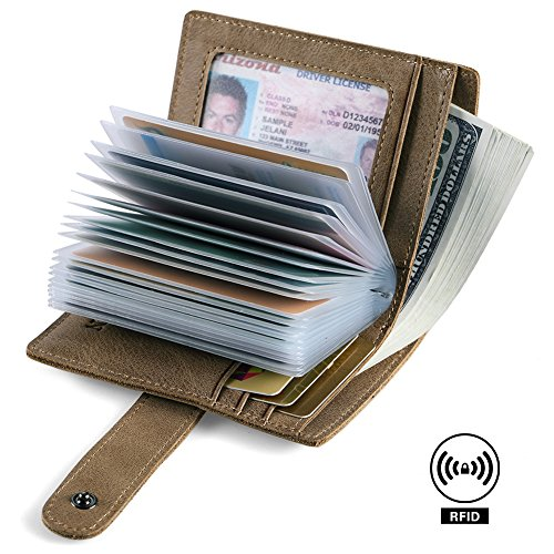 RFID Blocking Genuine Leather Business Card Holder for men