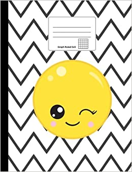 emoji composition notebook winking emoji graph paper 5x5 softcover 100 sheets200 pages 9 34 x 7 12 247 cm x 19 cm emoji notebooks volume