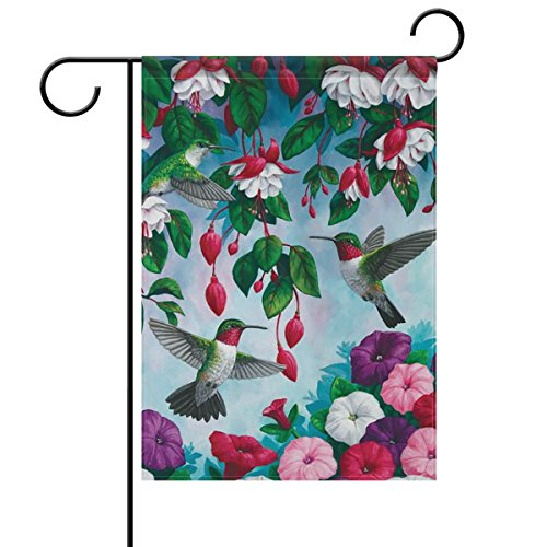 ALAZA Spring Summer Flowers Hummingbirds Ruby Throated Double Sided House Flag Garden Banner 28