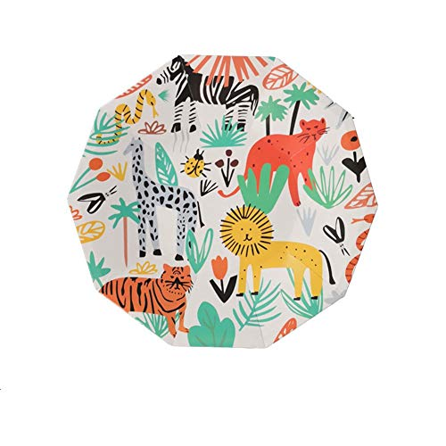 Jungle Safari Party Supplies, 32 Count Disposable Plates Woodland Animal Party Paper Dessert Plates for Baby Shower Jungle Safari Zoo Theme Birthday Party Supplies ()