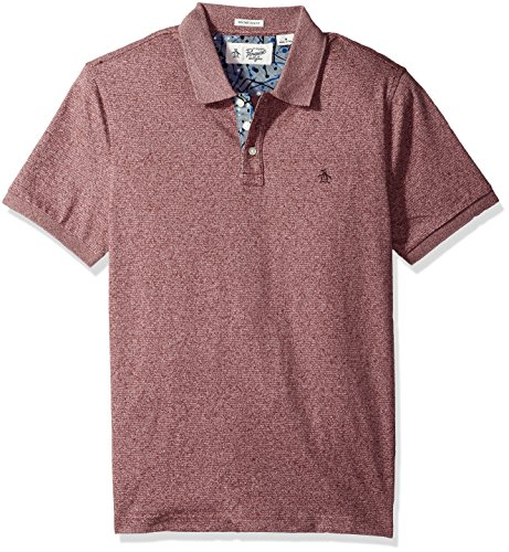 Original Penguin Men's Short Sleeve Jasper Striped Polo, Plum Wine, Medium (Penguin Striped Polo Shirt)