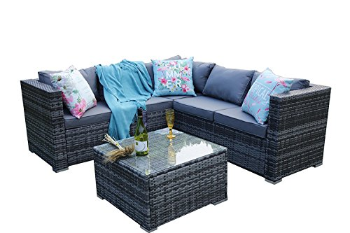 YAKOE 5 Seater Rattan Patio Furniture Sofa Set