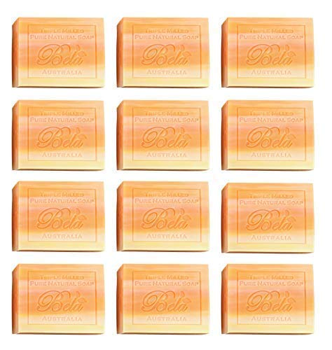 Bela Bath & Beauty, Orange Zest, Natural Soaps Triple French Milled Moisturizing Natural Soap Bars, Sulfate Free, 3.5 oz each - 12 pack