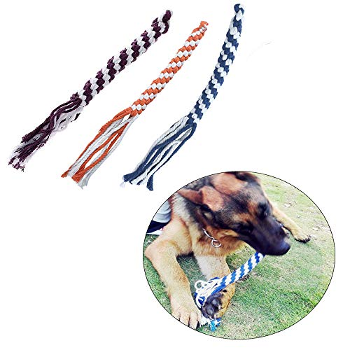 ASOCEA 3 Pcs Dog Cotton Rope Toys Flirt Pole Replacement Toys Chew Teething Small Medium Large Breeds 3 Colour