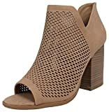 soda booties - Soda Women's Open Toe Perforated Stacked Block Heel Ankle Bootie, Natural, 7 M US