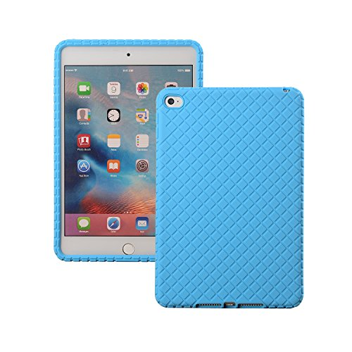 Bumper Silicone Skin (Veamor iPad Mini 4 Back Case Cover, Silicone Rubber Protective Skin Soft Gel Bumper, Impact Resistant / Kids Friendly / Drop-proof / Shockproof (Blue))