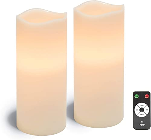 Large Flameless Pillar Candles – White Wax 4 x 10 Inch Candle Set, 2 Pack, Melted Edge, Warm White LED Light – Batteries Remote Included