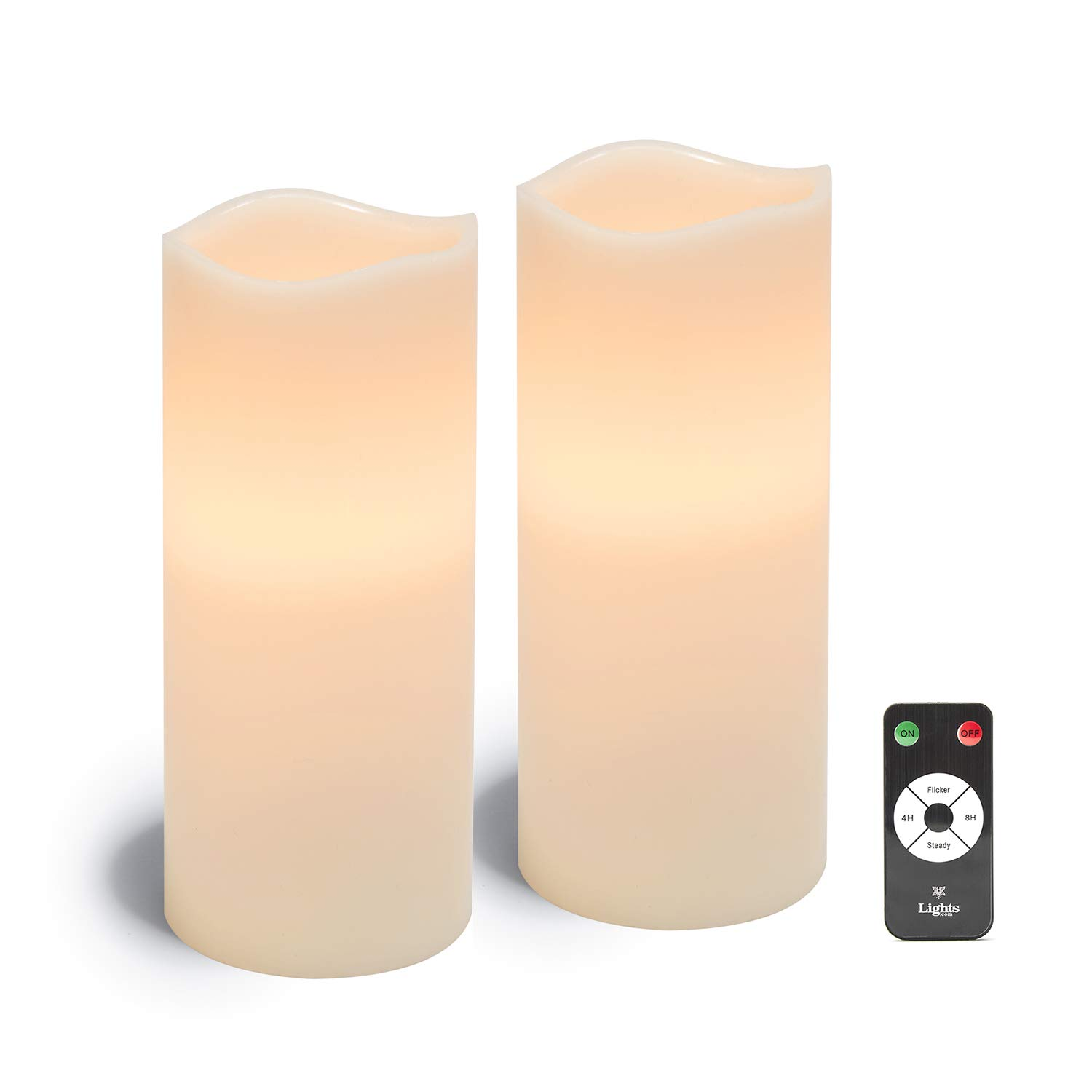 Large Flameless Pillar Candles - White Wax 4 x 10 Inch Candle Set, 2 Pack, Melted Edge, Warm White LED Light - Batteries & Remote Included by LampLust