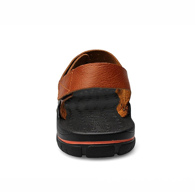 Homme Sandales Bout Ouvert Couleur Pure Chaussures Slip on Plage Piscine Plat Scratch Smelle Antidérapant Rétro Brun 40 K8VTrTiSI