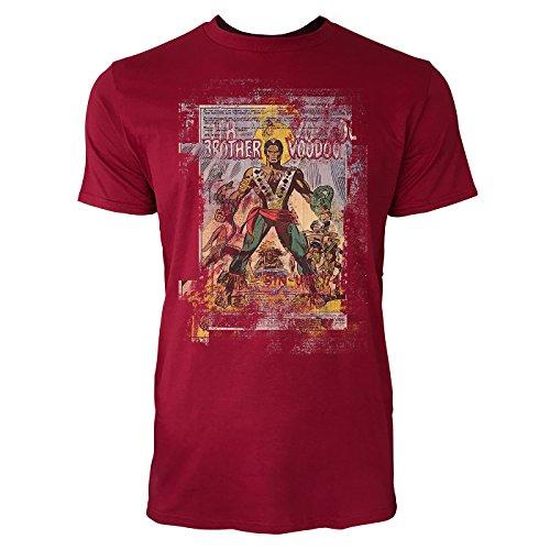 SINUS ART® Brother Voodoo Herren T-Shirts stilvolles dunkelrotes Cooles Fun Shirt mit tollen Aufdruck