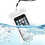 "AIEaie Universal Waterproof Case/Bag For Galaxy S6, Iphone 6/6 Plus Up To 6.0"" Dagonal, Best Water Proof, Dust Dirt Proof, Snowproof Pouch, White"