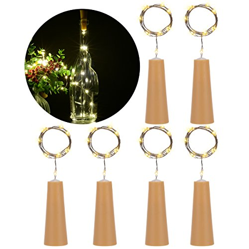 PChero 6 PCS Bottle Cork Copper Wire LED String Lights for Wine Bottle DIY, Craft Projects, Home Decoration, Party, Halloween Holidays, Christmas, and Wedding Décor - Warm White (Please Take One Halloween Sign)