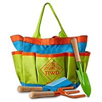 TIWD Design Kids Gardening Tools Set | Bag with 3 Safe Toy Tools for Gardens and Beach | All in one Shovels, Rake Fork, Tote Bag for Boys and Girls