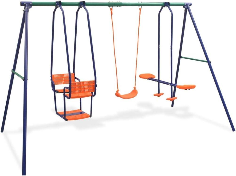 vidaXL Juego de Columpios para Jardín de 5 Piezas Asientos Juguete para Niños Parque Casero Infantil de Acero y Plástico Naranja