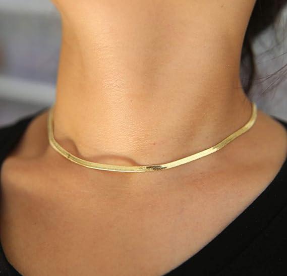 Amazon.com: Gargantillas planas de oro plateado, collares ...