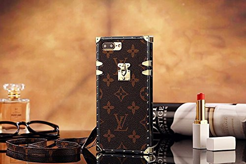 Gucci Iphone (calbeebee iPhone 7 iPhone 8 - US Fast Deliver Guarantee FBA- New Elegant Luxury PU Leather Monogram Style Flip Cover Case For Apple iPhone7 iPhone8 ONLY (iPhone7/8 Brown Trunk Bag))