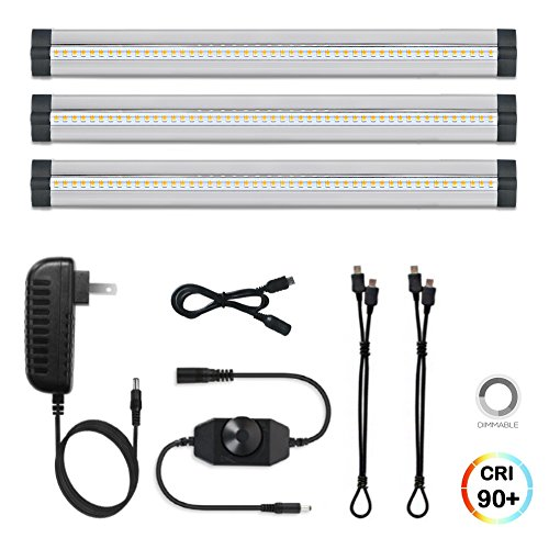 3 Pack LED Under Cabinet Lighting Dimmable Warm White, 15W 900LM CRI90, All Accessories Included