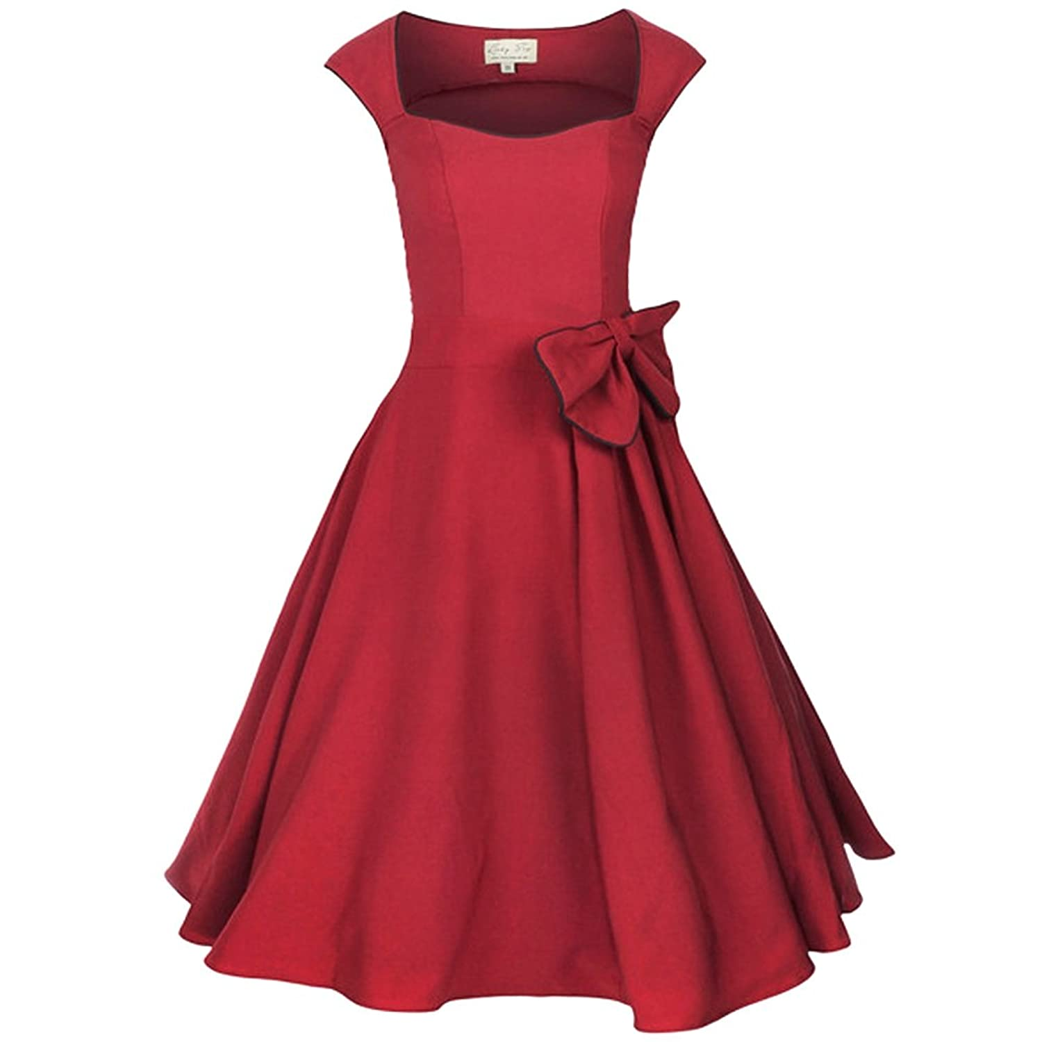 Zxzy Wommen 50s 60s Rockabilly Dress Audrey Hepburn Vintage Retro Swing Square Collar Dresses