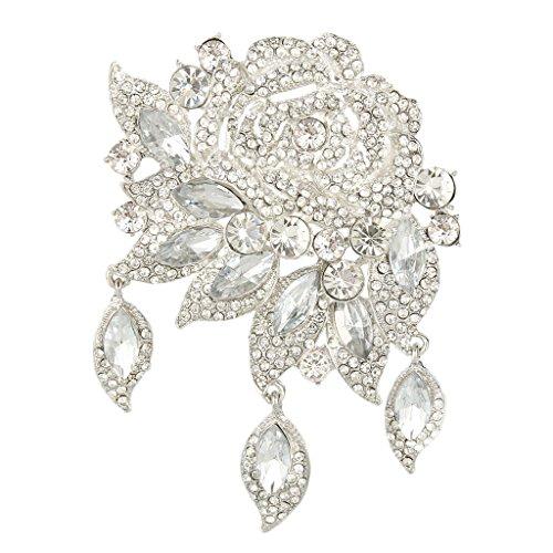 EVER FAITH Rose Flower Leaf Wedding Brooch Pendant Austrian Crystal Silver-Tone Clear Vintage Style Brooch