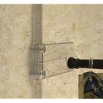 Wall Mounted Bathroom Shower Curtain Rod Holder Brackets Installed Without Drilling Into Tile Or Fiberglass Clear
