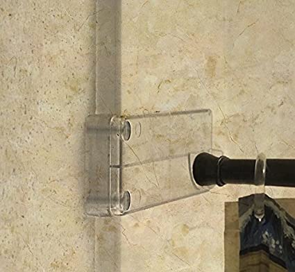 Wall Mounted Bathroom Shower Curtain Rod Holder Brackets Installed Without Drilling Into Tile Or Fiberglass