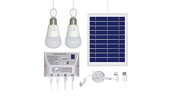 Nrpfell Sistema de IluminacióN Solar l ire Libre, Luz Solar EnergíA Fotovoltaica EnergíA MóVil Carga de TeléFonos MóViles Sistema Solar PortáTil: Amazon.es: Bricolaje y herramientas