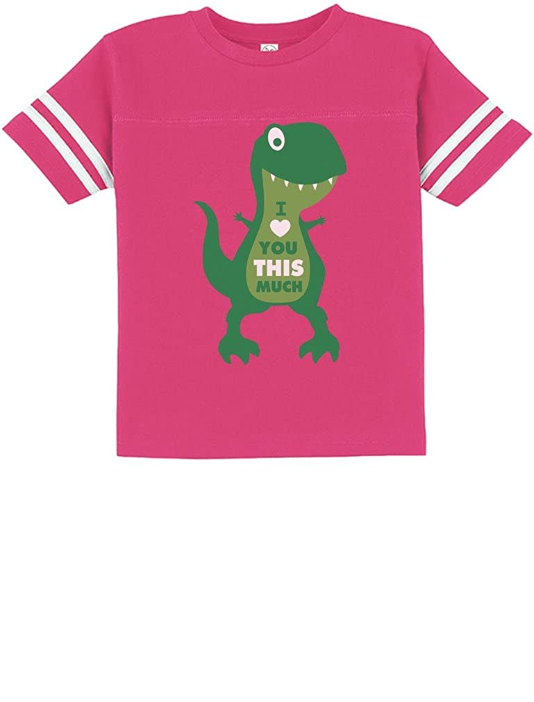 TeeStars Valentines Day I Love You This Much T-Rex Toddler Jersey T-Shirt