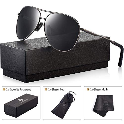 (Polarized Aviator Sunglasses for Men - Feirdio Metal Frame Sports UV 400 Protection Mens Women Sunglasses 2261 (black/Gun,)